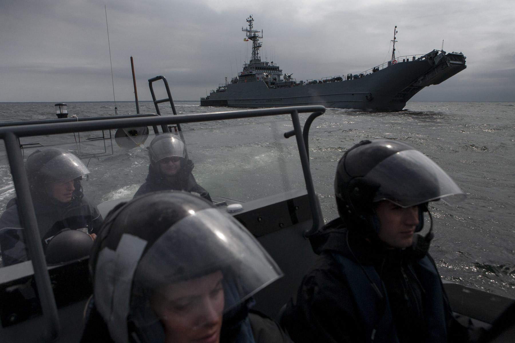 Polish Navy warship ORP Toruń. War games on the Baltic Sea.